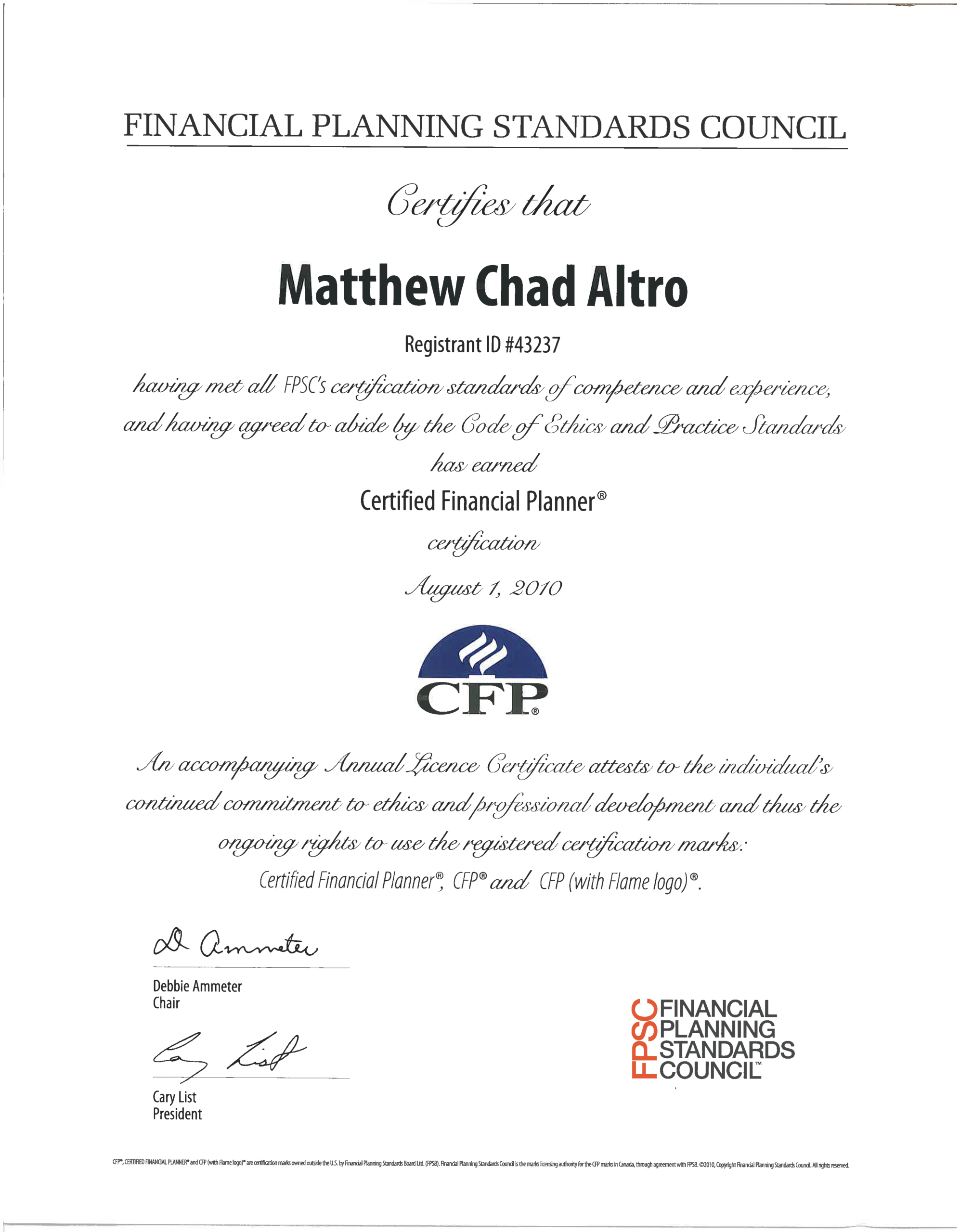 Matthew Altro Earns His Cfp Certification